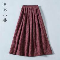 skirt Autumn 2020 longuette commute Natural waist A-line skirt Solid color Type A 25-29 years old 30% and below other hemp pocket Retro