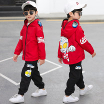 suit Zouza bear Red blue 110cm 120cm 130cm 140cm 150cm 160cm male spring and autumn leisure time Long sleeve + pants 2 pieces routine There are models in the real shooting Zipper shirt No detachable cap Cartoon animation elder Expression of love Left lane & glasses Altman Class B Spring 2021
