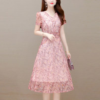 Dress Summer 2021 Pink green blue L XL 2XL 3XL 4XL 5XL Mid length dress singleton  Short sleeve commute V-neck middle-waisted Socket other routine Others 40-49 years old Type A Tiyunna Korean version TYN 181360 More than 95% polyester fiber Polyester 100% Pure e-commerce (online only)