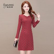 Women's large Spring 2021 Red and black L XL 2XL 3XL 4XL 5XL Dress singleton  commute Self cultivation moderate Socket Long sleeves Dot Korean version other polyester printing and dyeing routine Tiyunna 40-49 years old 96% and above Medium length Polyester 100% Pure e-commerce (online only) other