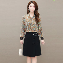 Women's large Spring 2021 Black Brown L XL XXL XXXL XXXXL XXXXXL Dress singleton  commute Self cultivation thin Socket Long sleeves Korean version V-neck polyester Three dimensional cutting routine TYN 969255 Tiyunna 35-39 years old 96% and above Medium length Polyester 100% other