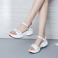 Sandals thirty-four trillion and three hundred and fifty-three billion six hundred and thirty-seven million three hundred and eighty-three thousand nine hundred and forty White black Yimeixue top layer leather Barefoot Slope heel Middle heel (3-5cm) Summer of 2018 Flat buckle Sweet Color matching