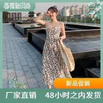 Dress Summer 2020 White, apricot, pink S,XL,L,M,XXL longuette singleton  Sleeveless Half open collar High waist Decor Socket A-line skirt routine Others 18-24 years old printing WBX-W87 other polyester fiber