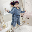 suit Ha Liao ha Liao blue 110cm 120cm 130cm 140cm 150cm 160cm female spring and autumn Korean version Long sleeve + pants 2 pieces routine There are models in the real shooting Socket nothing Solid color Denim children Learning reward H09091 Class B Other 100% Spring of 2019 Chinese Mainland