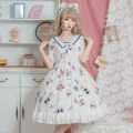 Dress Summer 2020 white S,M,L,XL Mid length dress singleton  Short sleeve Sweet V-neck High waist Cartoon animation zipper Princess Dress Princess sleeve Others 18-24 years old Type A More than 95% Chiffon polyester fiber Lolita