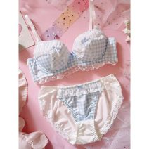 Bra Set  Other / other There are steel rings Briefs Detachable shoulder strap low-waisted Top thin bottom thick mould cup 3/4 Sweet U-shaped Rear three row buckle Gather together Young women Cotton pad lattice lesbian  cotton Polyester (polyester) More than 95% polyester fiber