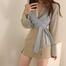 short coat Summer 2021 S M L Yellow gray green Khaki A-line skirt Long sleeves Medium length Self cultivation commute routine Solid color 18-24 years old MOOC Butterfly 96% and above MKDTZ8021 other Other 100% Pure e-commerce (online only)