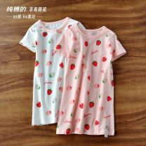 Home skirt / Nightgown Other / other Cotton 95% polyurethane elastic fiber (spandex) 5% White strawberry, pink strawberry summer female 2, 3, 4, 5, 6, 7, 8, 9, 10, 11, 12 years old Keep warm, eliminate dampness and sweat, stay at home Class A cotton