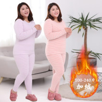 Women's large Korean version routine trousers Winter of 2019 commute Two piece set Other oversize styles LW8806 Long sleeve stripe thickening Self cultivation Condom Crew neck 35-39 years old Dadina cotton Stereoscopic cutting 91% (inclusive) - 95% (inclusive) routine L XL 2XL 3XL 4XL 5XL 6XL