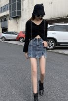 skirt Summer 2020 XS,S,M,L,XL blue Short skirt Versatile High waist A-line skirt Solid color Type A 18-24 years old CJHG07121122 More than 95% Denim Other / other cotton