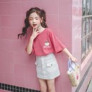 T-shirt White, brick red Other / other 110cm,120cm,130cm,140cm,150cm,160cm female summer Short sleeve Crew neck leisure time There are models in the real shooting nothing cotton Cartoon animation Cotton 95% polyethylene terephthalate (polyester) 5% Class B Sweat absorption Chinese Mainland