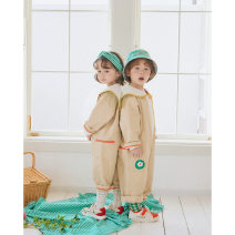 Jumpsuit / climbing suit / Khaki Other / other Class B neutral Khaki Jumpsuit 80cm,90cm,100cm,110cm,120cm Cotton denim Long sleeves Long climb Korean version Cashmere (cashmere) 100% newborn