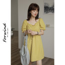 Dress Summer 2021 Yellow white Average size longuette singleton  Short sleeve commute square neck High waist Solid color Socket A-line skirt puff sleeve Others 18-24 years old Type A Bamboo wind lady W048 More than 95% other cotton Cotton 100%