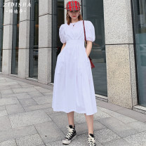Dress Summer 2020 White black purple [pre-sale 10 days] blue [pre-sale 10 days] S M L Mid length dress singleton  Short sleeve commute Crew neck Elastic waist Solid color zipper Big swing puff sleeve Others 25-29 years old Zidisa Retro Pocket stitched threaded zipper More than 95% other other
