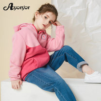 Plain coat Ayoryor female 110cm 120cm 130cm 140cm 150cm 160cm Pink red spring and autumn leisure time Zipper shirt There are models in the real shooting routine No detachable cap Solid color Fleece Crew neck Polyester 100% Class C Spring 2021