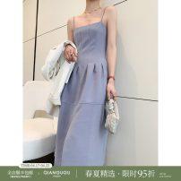 Dress Spring 2021 White blue white 7-10 days blue 7-10 days S M Mid length dress singleton  Sleeveless commute High waist A-line skirt camisole 25-29 years old Qian Gu Gu Simplicity Q21022102 71% (inclusive) - 80% (inclusive) polyester fiber