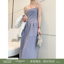 Dress Spring 2021 White blue white 7-10 days blue 7-10 days S M Mid length dress singleton  Sleeveless commute High waist A-line skirt camisole 25-29 years old Qian Gu Gu Simplicity Q21022102 71% (inclusive) - 80% (inclusive) polyester fiber