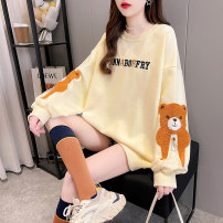 Women's large Spring 2021 Orange yellow apricot M L XL Sweater / sweater singleton  commute easy thin Socket Long sleeves Cartoon letters Korean version Crew neck Medium length cotton routine hl3037 Iluoyu 25-29 years old Embroidery Polyester 75% cotton 25% Pure e-commerce (online only)