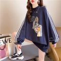 Women's large Spring 2021 White royal blue light blue M L XL Sweater / sweater singleton  commute easy thin Socket Long sleeves Cartoon letters Korean version Crew neck Medium length cotton routine hl2985 Iluoyu 25-29 years old thread Polyester 75% cotton 25% Pure e-commerce (online only)