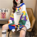 Women's large Spring 2021 White black M (suitable for 80-110 kg) l (suitable for 111-140 kg) XL (suitable for 141-170 kg) Sweater / sweater singleton  commute easy thin Socket Long sleeves Cartoon other letters Korean version Hood routine cotton Three dimensional cutting routine hl2996 Iluoyu pocket