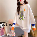 Women's large Spring 2021 M (suitable for 80-110 kg) l (suitable for 110-130 kg) XL (suitable for 130-150 kg) T-shirt singleton  commute easy thin Socket Long sleeves Cartoon letters Korean version Crew neck Medium length cotton printing and dyeing routine hl2839 Iluoyu 25-29 years old thread