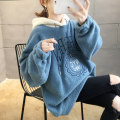 Women's large Winter of 2019 Pink Blue M (suitable for 80-110 kg) l (suitable for 110-150 kg) XL (suitable for 140-180 kg) Sweater / sweater singleton  commute easy thickening Socket Long sleeves Shape letter Korean version Hood routine polyester fiber printing and dyeing routine k110 Iluoyu tie-dyed