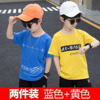 T-shirt summer leisure time There are models in the real shot nothing Cotton 100% 8042 Class B Sweat absorption Summer 2021 Hebei Province Shijiazhuang City  Open line decoration Aikumibe cotton Solid color male Short sleeve Crew neck Chinese Mainland Self cultivation