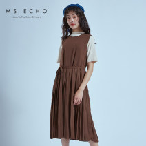 Dress Spring 2020 Toffee brown cream white Average size Mid length dress singleton  Sleeveless commute Crew neck Elastic waist Solid color Socket Big swing 25-29 years old MS-Echo Simplicity LL20127-B More than 95% polyester fiber Polyethylene terephthalate (polyester) 100%