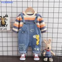 suit Simba monkey 80cm 90cm 100cm 110cm 120cm neutral spring and autumn Korean version Long sleeve + pants 2 pieces routine No model Socket nothing Cartoon animation cotton children Expression of love 16f0e601-5 Cotton 95% other 5%