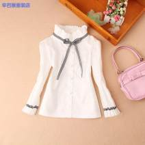 shirt White spring and autumn black ribbon decoration black spring and autumn black ribbon decoration white plush warm black ribbon Simba monkey female 100cm 110cm 120cm 130cm 140cm 150cm 160cm 170cm L winter Long sleeves Solid color Pure cotton (100% cotton content) stand collar Other 100% Class B
