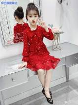 Dress Red long sleeve red short sleeve female Simba monkey 110cm 120cm 130cm 140cm 150cm 160cm Cotton 95% other 5% spring and autumn Korean version Long sleeves Dot cotton Cake skirt f6507a1d-3