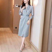 Dress Summer 2021 wathet S M L XL Mid length dress singleton  three quarter sleeve commute tailored collar High waist Solid color Socket One pace skirt shirt sleeve Others 30-34 years old Type A Ge yanxuan lady Three dimensional decorative button 213Q1696 71% (inclusive) - 80% (inclusive)