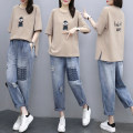 Women's large Summer 2020 T-shirt Two piece set commute easy moderate Socket Short sleeve Cartoon animation Korean version Crew neck Medium length cotton routine And Li Three dimensional decoration 96% and above Cotton 96% other 4% Pure e-commerce (online only) Ninth pants