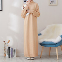 Dress Winter of 2019 Khaki haze blue black apricot Pink S M L XL longuette singleton  Long sleeves commute High collar Loose waist Solid color Socket other routine Others 25-29 years old Type H Dacha yarn Korean version 30% and below knitting polyester fiber Pure e-commerce (online only)