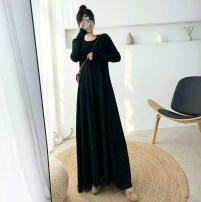 Dress Autumn of 2019 XXL M L XL longuette singleton  Long sleeves commute Crew neck middle-waisted Solid color Socket A-line skirt routine Others 25-29 years old Type A Dacha yarn Korean version 8300A 30% and below knitting polyester fiber Pure e-commerce (online only)