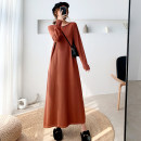 Dress Autumn 2020 M L XL XXL longuette singleton  Long sleeves commute Crew neck Loose waist Solid color Socket A-line skirt routine Others 25-29 years old Type A Dacha yarn Korean version 30% and below knitting polyester fiber Pure e-commerce (online only)