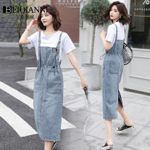 Dress Summer 2020 Blue strap skirt + white T-shirt blue strap skirt piece S M L XL 2XL Mid length dress Two piece set Short sleeve commute Crew neck High waist Solid color Socket One pace skirt routine straps 18-24 years old Type A Beiqianni Korean version Pleated pockets for old straps B745241A1210