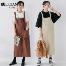 Dress Summer 2020 S M L Mid length dress singleton  Sleeveless commute other High waist Solid color Socket A-line skirt other straps 18-24 years old Type A Beiqianni Korean version Pocket strap button More than 95% other Other 100%