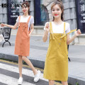 Dress Summer 2020 Ginger suit army green suit orange suit S M L XL Middle-skirt Two piece set Short sleeve commute Crew neck High waist Solid color Socket One pace skirt routine straps 18-24 years old Type H Beiqianni Korean version Pocket strap button G89635420T257 More than 95% other Other 100%