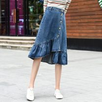 skirt Autumn of 2019 26,27,28,29,30,31,32,33,34,36,38,40 blue Versatile High waist Irregular Solid color Type A 18-24 years old WLKN-S292 71% (inclusive) - 80% (inclusive) Denim Other / other cotton Ruffles, asymmetric, worn, buttons