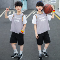suit Xianzihan Blue yellow grey 120cm 130cm 140cm 150cm 160cm 170cm male summer leisure time Short sleeve + pants 2 pieces Thin money There are models in the real shooting Socket nothing Solid color cotton children Giving presents at school sports garment Class B Other 100% Summer 2021 Huzhou City