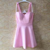 Dress Summer of 2019 White, black, pink, lemon yellow, orange pink Average size Short skirt singleton  Sleeveless street V-neck Elastic waist Solid color Socket A-line skirt other camisole 18-24 years old Type X backless 81% (inclusive) - 90% (inclusive) other polyester fiber Europe and America