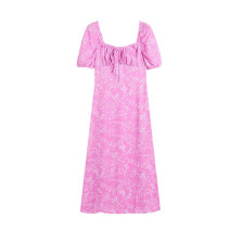 Dress Spring 2021 Picture color S,M,L Mid length dress singleton  Short sleeve commute square neck High waist Broken flowers Socket A-line skirt puff sleeve Type A Retro printing More than 95% Chiffon