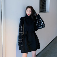 Women's large Autumn 2020 Large L Large XL s M Dress Fake two pieces commute Straight cylinder Socket Long sleeves other Korean version Crew neck Medium length routine All Meena 18-24 years old Short skirt Other 100% Pure e-commerce (online only)