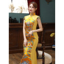 cheongsam Autumn 2020 S ml XL 2XL 3XL 4XL customized contact customer service Gold long 083 blue white long 083 red long 083 Short sleeve long cheongsam grace No slits perform Oblique lapel Solid color 25-35 years old Embroidery SBM083 Shibeimo other Other 100% Pure e-commerce (online only)