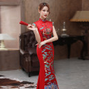cheongsam Autumn 2020 S ml XL 2XL 3XL 4XL customized contact customer service Red long 087 gold long 087 blue white long 087 Short sleeve long cheongsam literature No slits perform Oblique lapel other 25-35 years old Embroidery SBM087 Shibeimo other Other 100% Pure e-commerce (online only)