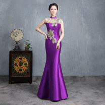 Dress / evening wear Weddings, adulthood parties, company annual meetings, daily appointments Customized contact customer service (customized non refundable) s ml XL 2XL 3XL 4XL Dark green purple red Korean version longuette middle-waisted Summer 2020 fish tail stand collar Bandage 26-35 years old