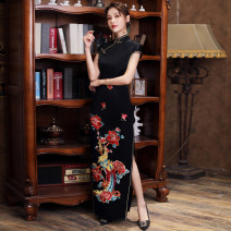 cheongsam Spring 2021 Customized contact customer service (customized non refundable) s ml XL 2XL 3XL 4XL Temperament black Short sleeve long cheongsam Retro High slit daily Oblique lapel Decor 25-35 years old Piping Shibeimo other Other 100% Pure e-commerce (online only) 96% and above