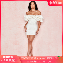 Dress Spring 2020 Black, white XL,S,L,M Short skirt singleton  Short sleeve One word collar middle-waisted Solid color zipper One pace skirt Lotus leaf sleeve PY.9520