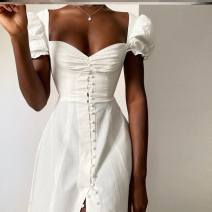 Dress Autumn 2020 white S,M,L,XL Short skirt singleton  Long sleeves street V-neck High waist Solid color A-line skirt 25-29 years old Other / other polyester fiber